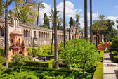 Garden of the Pond in Real Alcazar of Seville — Stock Photo
