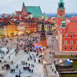 Castle Square in the Old Town of Warsaw - Stock Photo