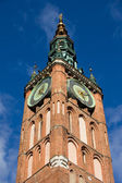 Clock Tower of Main Town Hall in Gdansk — Stock Photo