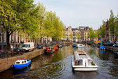 Boats on Canal Tour in Amsterdam — Stock Photo