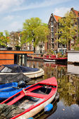 Boats on Canal in Amsterdam — Stock Photo