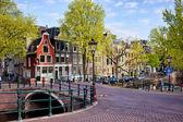 Amsterdam'da Hollanda kanal evleri — Stok fotoğraf