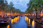 Canal in Amsterdam at Dusk — Stock Photo
