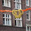 Crown and Orange Garland in Amsterdam — Stock Photo