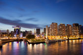 Rotterdam Skyline at Night in Netherlands — Stock Photo
