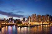 Rotterdam skyline in de nacht in nederland — Stockfoto