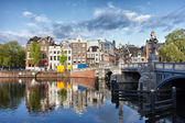City of Amsterdam by the Amstel River — Stock Photo