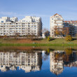 Lakeside Modern Apartment Buildings in Warsaw — Stok fotoğraf