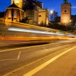 Stock Photo: Night Traffic on Solidarity Avenue in Warsaw