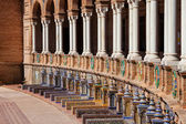 Plaza de Espana Colonnade and Benches in Seville — Stock Photo