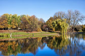 Park with a Lake in Warsaw — Stock Photo