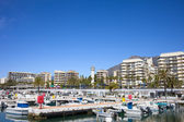 Marina and Apartment Buildings in Marbella — Stock Photo