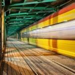 Abstract Tram Light Trail on a Bridge — Stock Photo