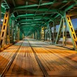 Steel Truss Bridge Tramway at Night — Stock Photo