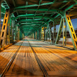 Steel Truss Bridge Tramway at Night — Stock Photo