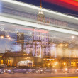 Warsaw Downtown Light Trails Abstraction — Stock Photo