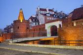 Casco antiguo de fortificación de varsovia en la noche — Foto de Stock