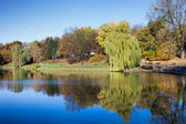 City Park with a Pond in Warsaw — Stock Photo