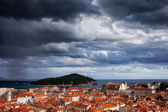 Clouds over Dubrovnik and Lokrum Island — Stock Photo