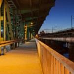 Pedestrian Path on a Bridge at Night — Stock Photo