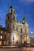 Church of the Holy Cross at Night in Warsaw — Zdjęcie stockowe