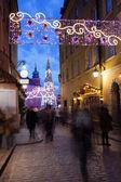 Christmas Decorations on Piwna Street in Warsaw — Foto Stock