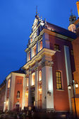 Jesuit Church in Warsaw at Night — Stock Photo