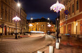 Miodowa Street in Warsaw at Night — Stock fotografie