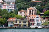 Waterside Houses Along The Bosphorus Strait — Stock Photo