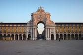 Rua Augusta Arch at Sunrise in Lisbon — Stock Photo