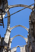 Gothic Arches in Ruins of Carmo Convent in Lisbon — Stock Photo