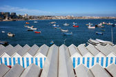 Sheds and Boats Moored at Bay in Cascais — Stock Photo