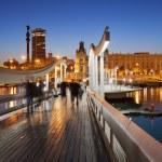 Rambla del Mar over Port Vell in Barcelona at Night — Stock Photo #47697835