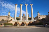 Ionic Columns and National Art Museum of Catalonia — Stock Photo