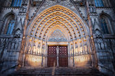 Entrance to the Barcelona Cathedral at Night — Stock Photo