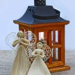 Two decoration angels and lantern. Eve of advent — Stock Photo