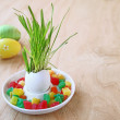 Easter dekor on a wooden background - Stock Photo