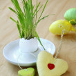 Easter decor on a wooden background - Stock Photo