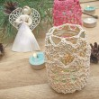 Knitted lantern, angel, cones and candles on the background of c — Stock Photo