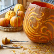 Excision from the pumpkin of decorative lantern on halloween. Ev — Stock Photo
