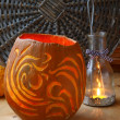 Excision from the pumpkin of decorative lantern on halloween. — Stock Photo