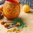 Stock Photo: Excision from pumpkin of decorative lantern on halloween.