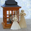 Two decoration angels from straw and lantern. Eve of advent — Stock Photo