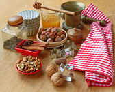 Nuts for baking on winter holidays — Stock Photo