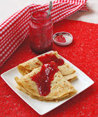 Two fried pancake against the white plate — Stock Photo