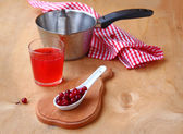 Cranberry drink and berries of cranberry on a table — Stock Photo