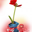 Red hippeastrum wich candlesticks — Stock Photo