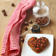 Stock Photo: Chocolate heart cookies and hazel