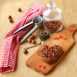 Stock Photo: Chocolate baking cookies in form heart and hazel