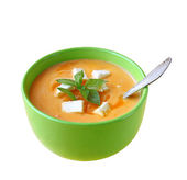 Soup of puree from a carrot and pumpkin — Stock Photo